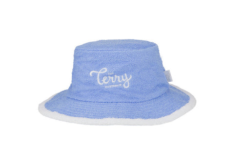 Kids Mia Narrow Brim Terry Bucket Hat-SkyBlue/White