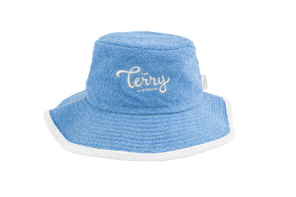 Kids Levi Wide Brim Terry Bucket Hat-Sky Blue White – The Terry ... 3d412782f43