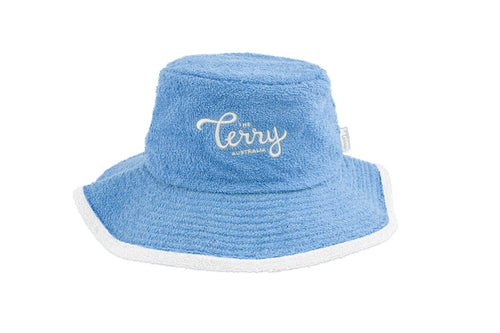 Kids Levi Wide Brim Terry Bucket Hat-Sky Blue/White