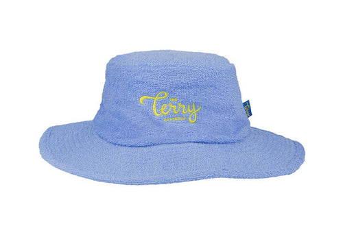 Kids Denver Wide Brim Terry Bucket Hat-Sky Blue/Yellow