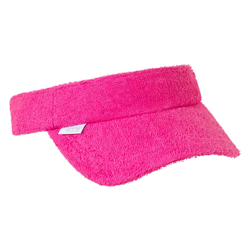 Kids Terry Towelling Visor - Hot Pink