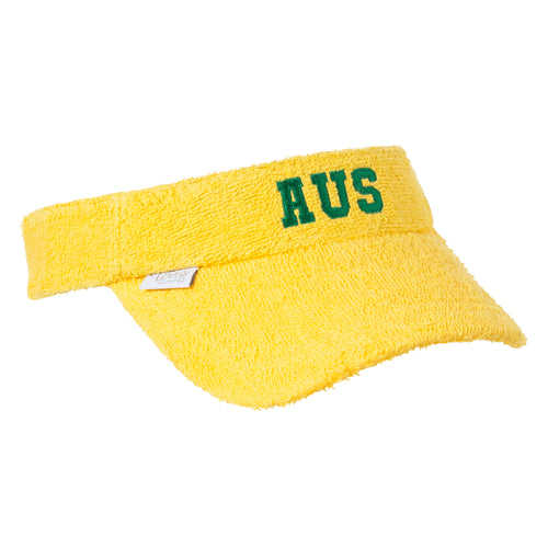 Kids -  Terry Towelling Visor - Yellow AUS Logo