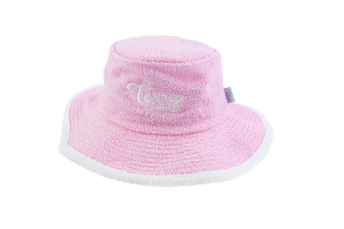 Kids - Pale Pink & White Wide Brim Terry Towelling Hat