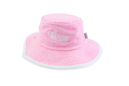 Ladies Terry Towelling Bucket Hat - PalePink/White