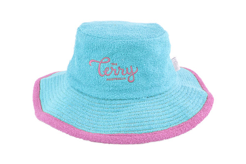 Kids Anna Wide Brim Terry Bucket Hat- Aqua/Pink