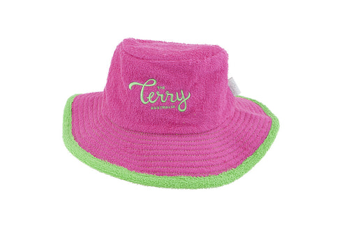 Kids - Hot Pink & Green Wide Brim Terry Towelling Hat