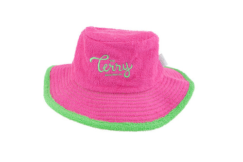 Kids Daisy Wide Brim Terry Bucket Hat- Hot Pink/Green