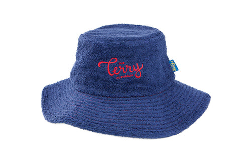 Kids Coogee Wide Brim Terry Bucket Hat- Navy Blue