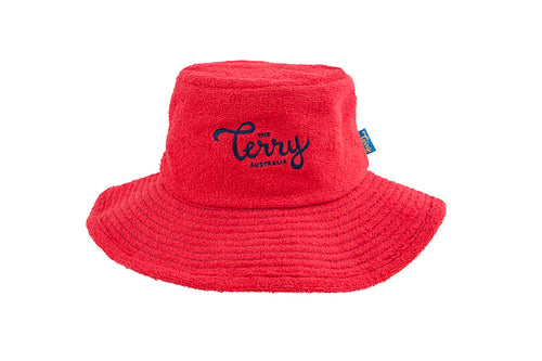 Kids Jack Wide Brim Terry Bucket Hat-Red