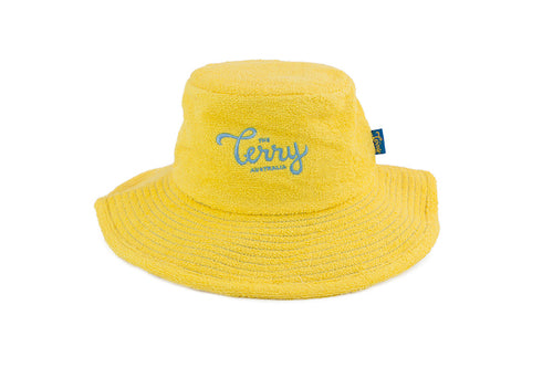 Kids Lucy Wide Brim Terry Bucket Hat-Yellow/Sky Blue