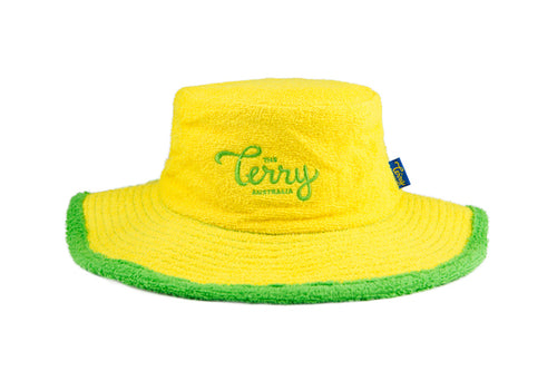 Kids Benjamin Wide Brim Terry Bucket Hat-Yellow/Green