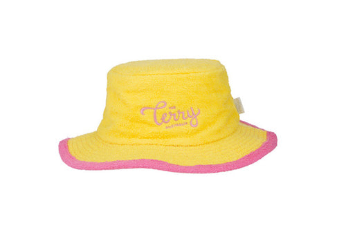 Ladies Posie Narrow Brim Terry Bucket Hat-Yellow/Pink