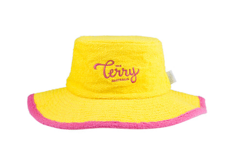 Kids Hattie Wide Brim Terry Bucket Hat-Yellow/Pink
