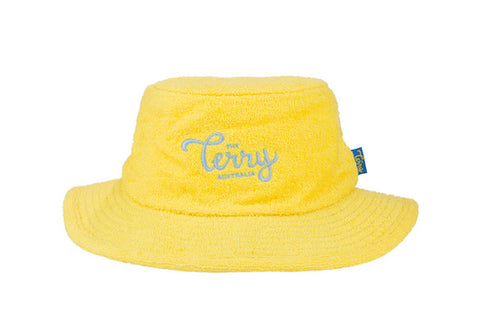 Kids Cooper Narrow Brim Terry Bucket Hat- Yellow/SkyBlue
