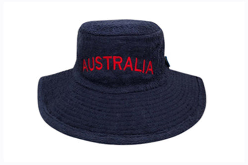 Australia Navy Blue Wide Brim Terry Towelling Hat