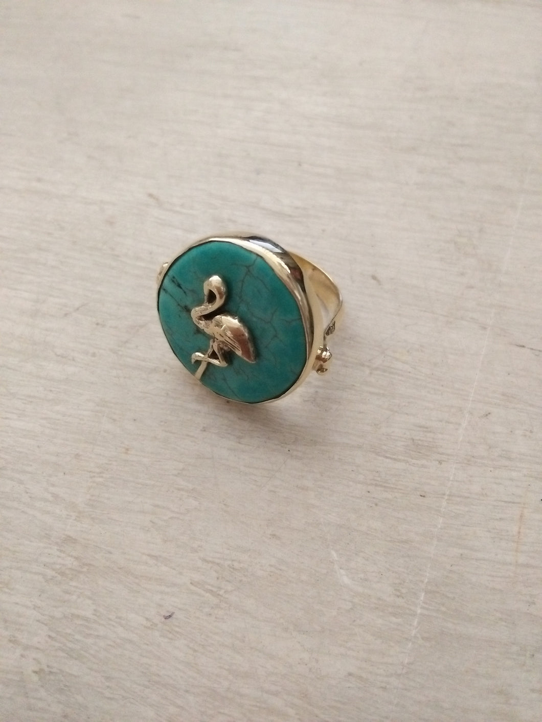 Ring Turquoise Tropical Round