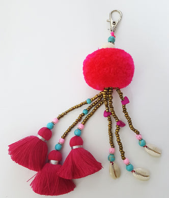 Keychain Pompom Triple Tassel And Triple Shell
