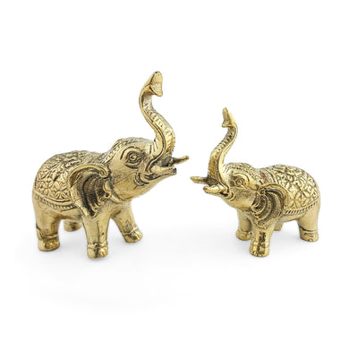 Elephant brass statue gold trumpeting