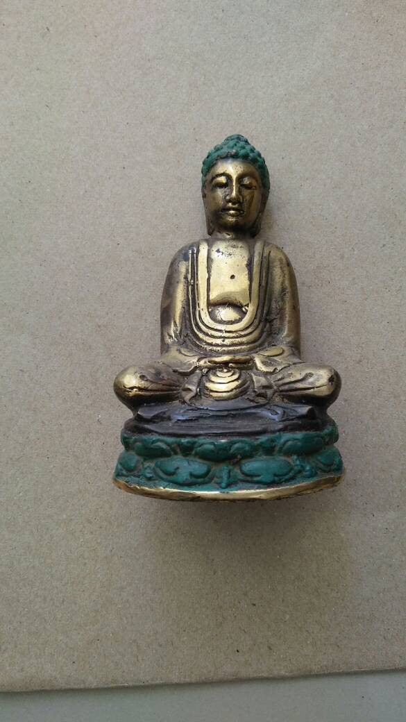 Brass Decor 10 cm Buddha on Lotus