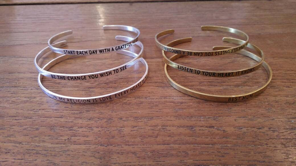 Bracelet Brass Quote 18 Cm