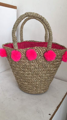 Bag Mini beach basket Pompom