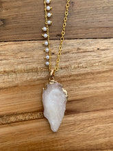 Necklace Love Arrow Crystal and Rose Quartz