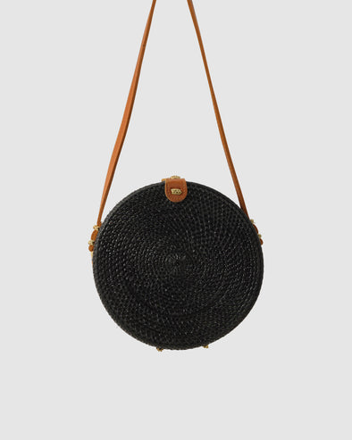 THE AMALFI RATTAN BAG - BLACK