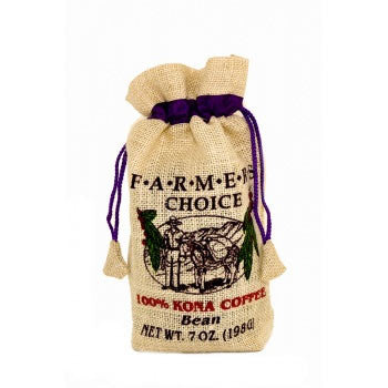 7oz 100% Kona Farmers Choice Burlap Whole Bean
