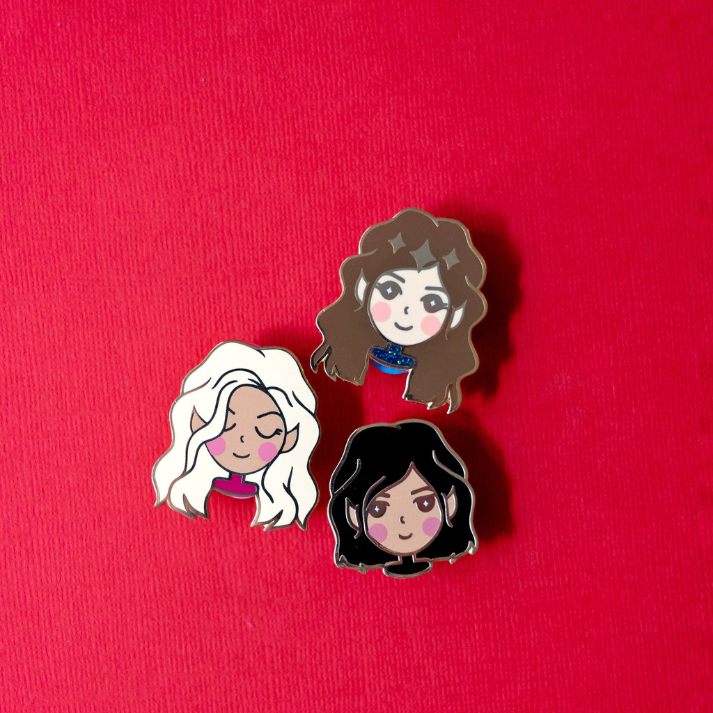 Feyre, Mor and Amren Set | Bookish Babe Enamel Pin