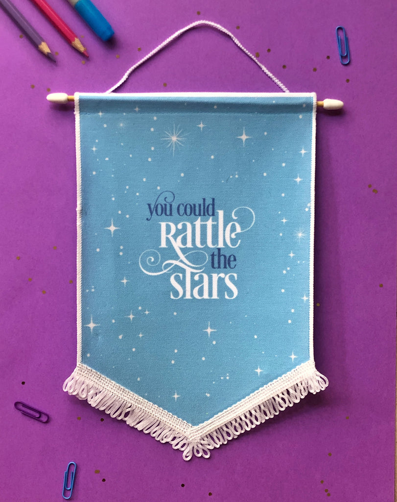 Rattle The Stars quote Enamel Pin Display Banner