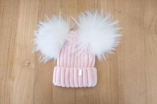 Knit Double Pompom Hat