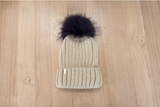 Knit Single Pompom Hat Adult