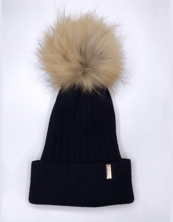 Cashmere single pompom hat