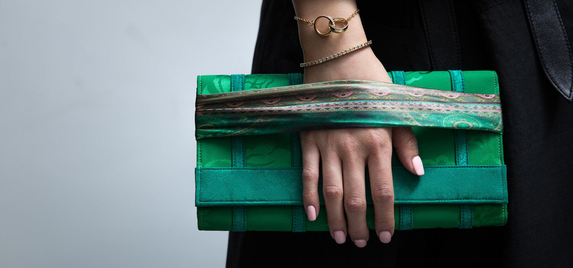 green handkerchief with purse