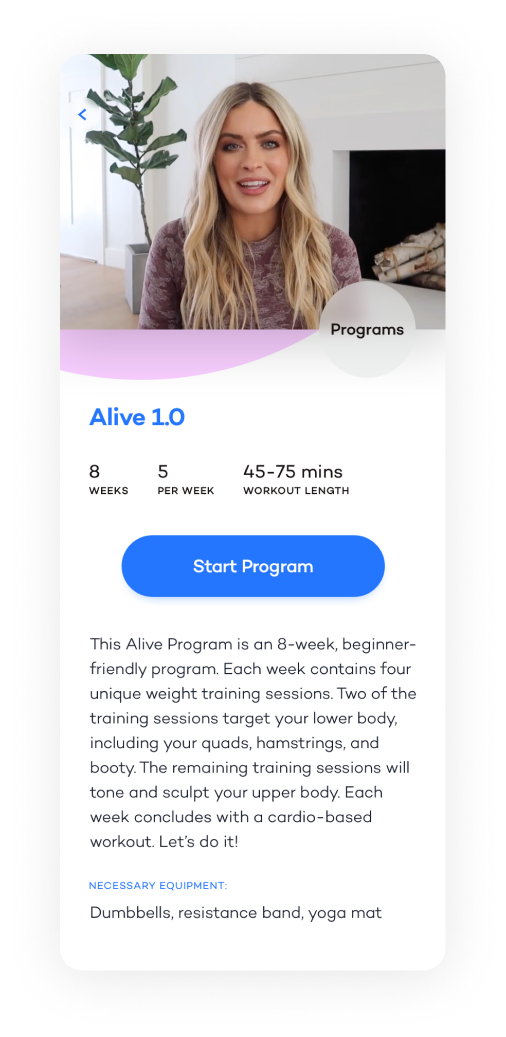 Alive App Programs Screenshot