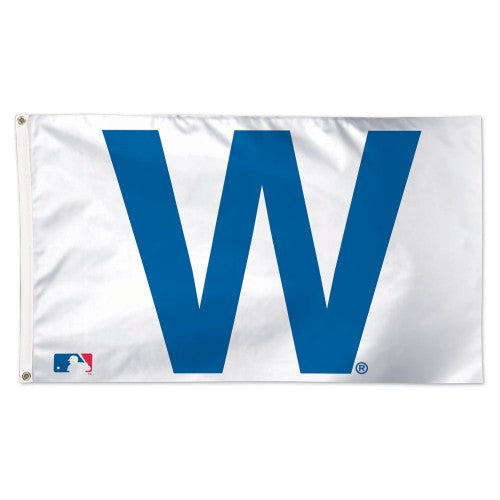Chicago Cubs MLB 3' x 5' Single-Sided Deluxe Flag - Cubs Win/W Flag