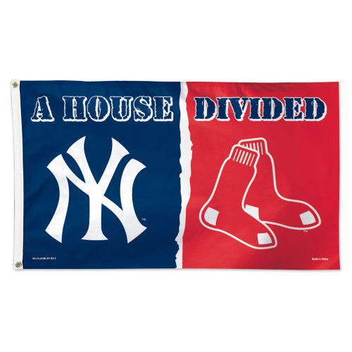 New York Yankees/Boston Red Sox MLB 3' x 5' Single-Sided Deluxe Flag - House Divided