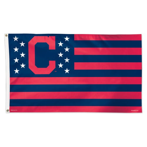 Cleveland Indians MLB 3' x 5' Single-Sided Deluxe Flag - Stars and Stripes