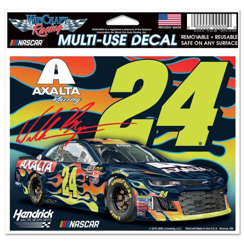 "William Byron NASCAR 4.5"" x 5.5"" Multi Use Decal - Color Car Image"
