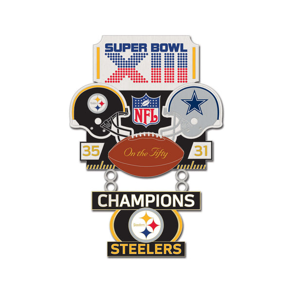Super Bowl XIII Pittsburgh Steelers vs Dallas Cowboys NFL Collectible 2-Piece Dangler Pin