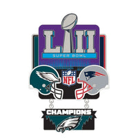 Super Bowl LII Philadelphia Eagles vs New England Patriots NFL Collectible 2-Piece Dangler Pin
