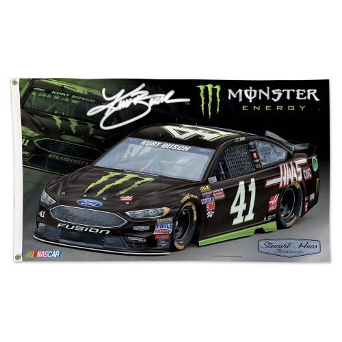 Kurt Busch NASCAR 3' x 5' Single-Sided Deluxe Flag - #41 Monster Energy