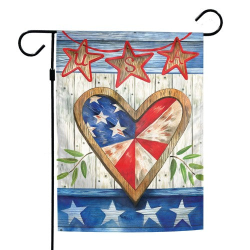 "Support America Patriotic 12"" x 18"" Garden Flag - USA Heart"