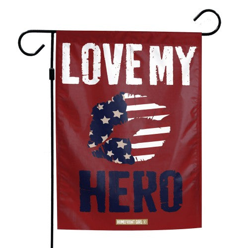 "Support America Patriotic 12"" x 18"" Garden Flag - Love My Hero"