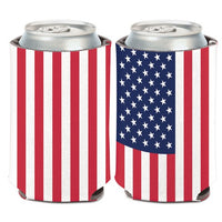 Support America Patriotic Can Cooler - American Flag (Image Shows Front and Back View)