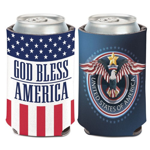 Support America Patriotic Can Cooler - God Bless America (Image Shows Front and Back View)