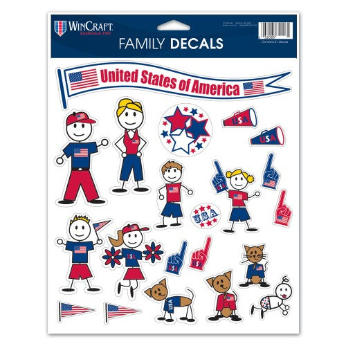 "Support USA Patriotic 8.5"" x 11"" Family Decal Sheet - PRE-ORDER Due March 30"