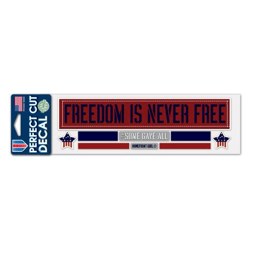 "Support America Patriotic 3"" x 10"" Perfect Cut Decal - Freedom Is Never Free"