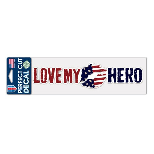"Support America Patriotic 3"" x 10"" Perfect Cut Decal - Love My Hero"
