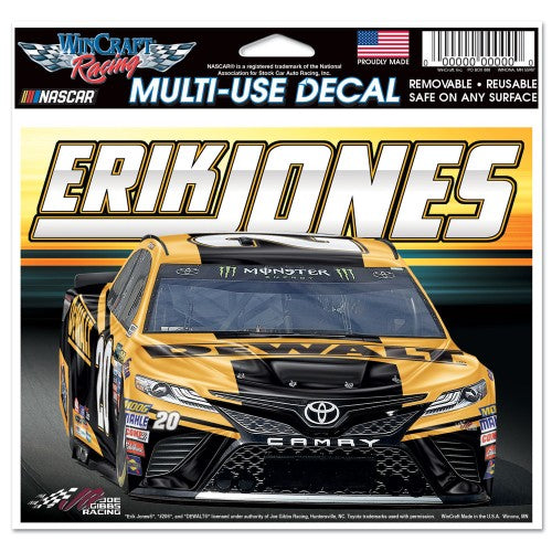 "Erik Jones NASCAR 4.5"" x 5.5"" Multi Use Decal - Color Car Image"
